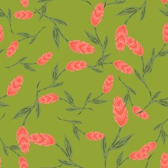 Modello senza cuciture decorativo casuale con stampa di elementi spiga di grano rosa. sfondo verde. stampa piante. progettazione grafica per carta da imballaggio e trame di tessuto. illustrazione di vettore.
