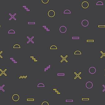 Motivo a forma geometrica casuale in stile retrò anni '80 e '90. sfondo geometrico astratto