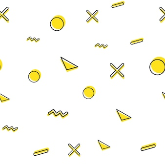 Motivo a forma geometrica casuale, sfondo astratto in stile retrò anni '80 e '90. illustrazione geometrica colorata