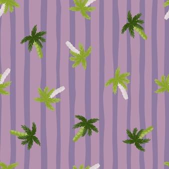 Modello senza cuciture tropicale delle siluette della palma verde casuale. sfondo a righe viola.