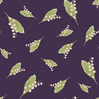 Forme di fiori di mughetto di colore verde e rosa casuali