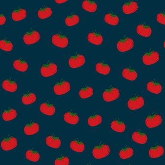 Pomodori rossi casuali. seamless pattern di pomodoro