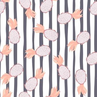 Modello senza cuciture casuale con forme organiche di pitaya. sfondo a righe nei colori bianco e grigio.