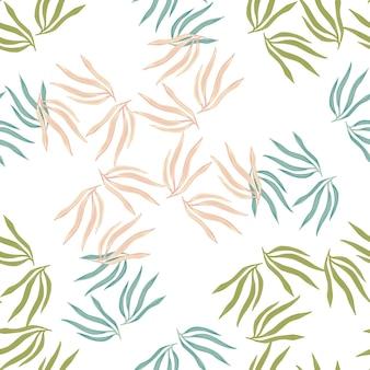 Modello semless di foglie tropicali casuali. foglia tropicale estiva astratta