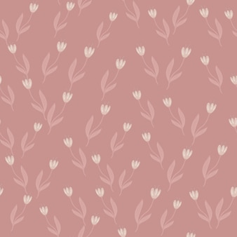 Modello senza cuciture di tulipano vintage casuale. disegno botanico. carta da parati decorativa con ornamenti floreali. per tessuto, stampa tessile, avvolgimento, copertura. illustrazione vettoriale retrò.