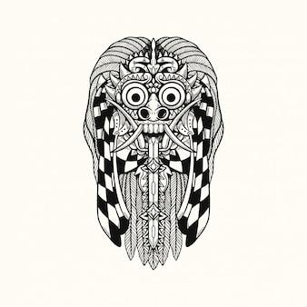 Illustrazione di progettazione della maglietta di rangda barong bali indonesia