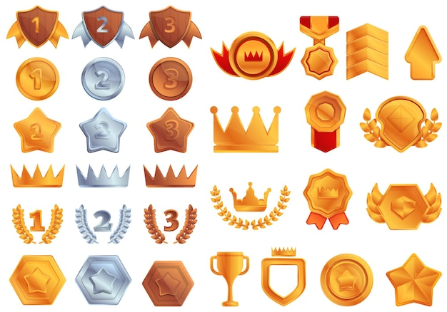 Set di icone di classifica. cartoon set di icone di classifica
