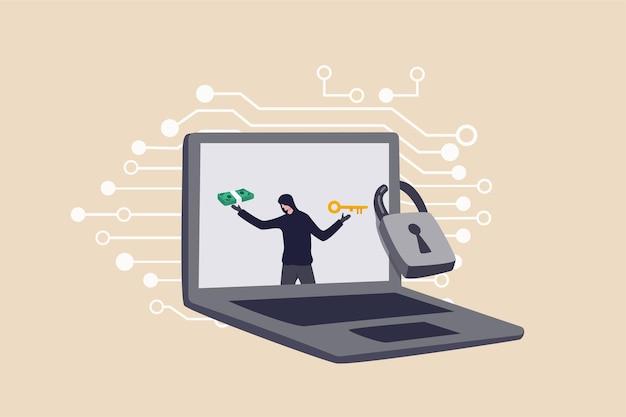 Crimine informatico ransomware, rete aziendale attacco hacker chiedere soldi per sbloccare i dati tramite il concetto di internet, hacker nel monitor del computer portatile chiedere riscatto per sbloccare il computer.