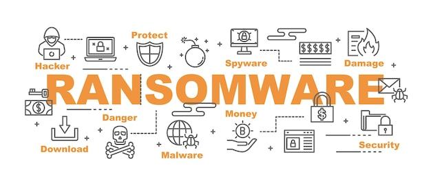 Banner vettoriale ransomware