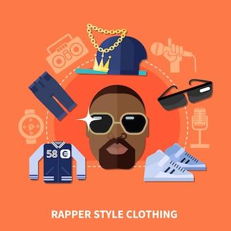 Composizione abbigliamento stile rapper