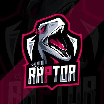 Modello di progettazione di esport logo mascotte raptor
