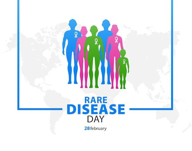 Poster o striscione per la giornata delle malattie rare gruppo di persone con malattie rare