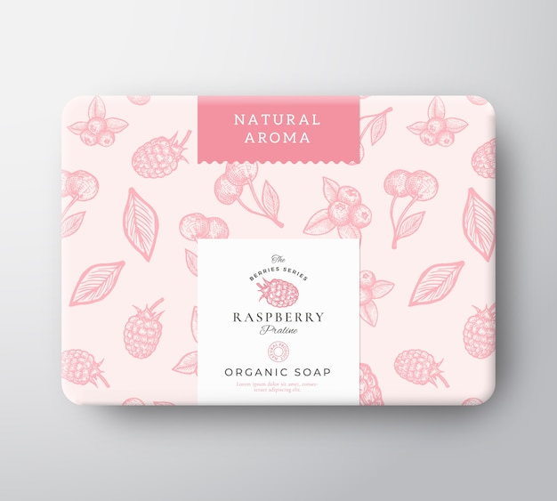 Scatola di cartone per sapone da bagno al lampone. mockup del contenitore di carta avvolto