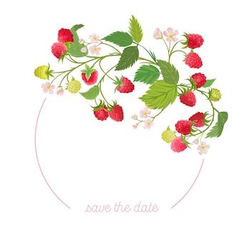 Corona floreale di lamponi con bacche di frutta ad acquerello, fiori, foglie. illustrazione della bandiera dell'annata di vettore estate. invito a nozze moderno, biglietto di auguri alla moda, design di lusso
