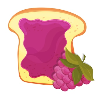 Marmellata di lamponi su pane tostato con gelatina. realizzato in stile cartone animato. alimentazione sana.