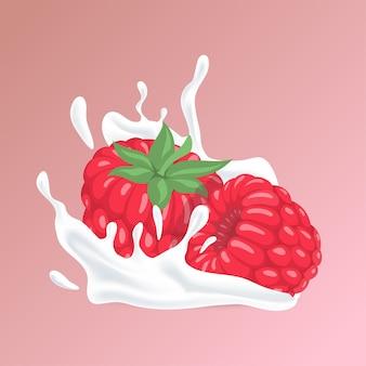 Lampone e spruzzata di organico liquido naturale dell'illustrazione del fumetto liquido bianco