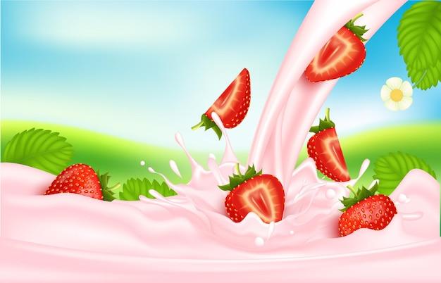 Latte rosa dolce lampone con frutti di bosco e spruzzi realistici, frutta e yogurt.
