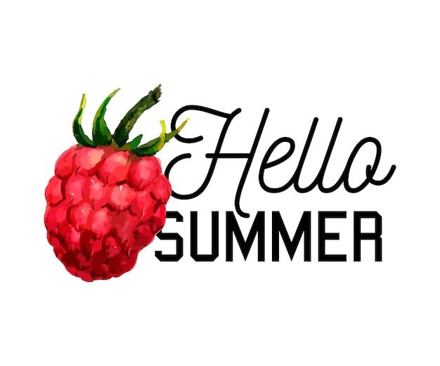 Slogan di estate dell'illustrazione dell'acquerello del lampone ciao