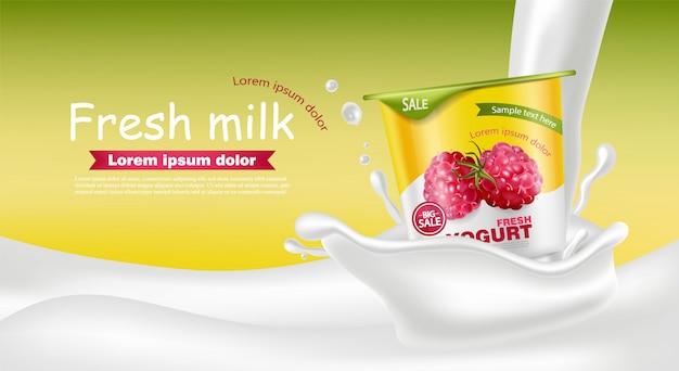 Mockup realistico di lampone yogurt