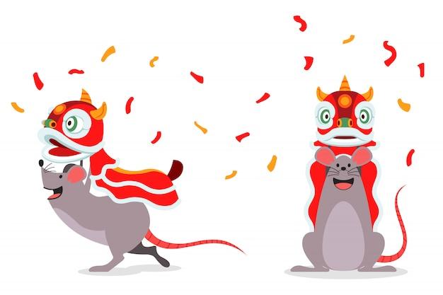 Personaggio dei cartoni animati del ratto che esegue cinese tradizionale lion dance