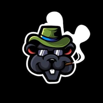 Ratto mascotte logo design illustrazione vettoriale