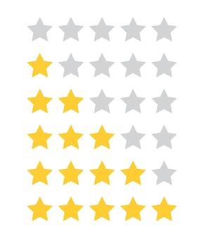 Valuta l'icona piatta della recensione del prodotto del cliente a 5 stelle per il vettore di app e siti web isolato su sfondo bianco