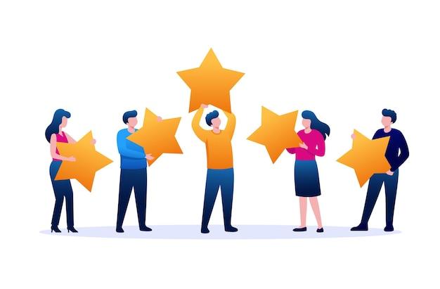 Valutazione 5 stelle modello piatto di vettore dell'illustrazione del sito web della pagina di destinazione