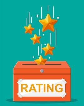 Casella di valutazione. recensioni cinque stelle. testimonianze, valutazione, feedback, sondaggio, qualità e revisione. illustrayion vettoriale in stile piatto