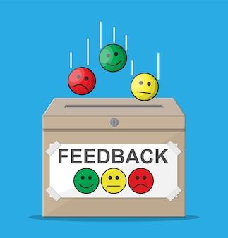 Casella di valutazione. recensioni volti sorridenti. testimonianze, valutazione, feedback, sondaggio, qualità e revisione.