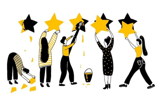 Concetto di valutazione. risultati del sondaggio, illustrazione vettoriale di feedback. cinque stelle con le persone