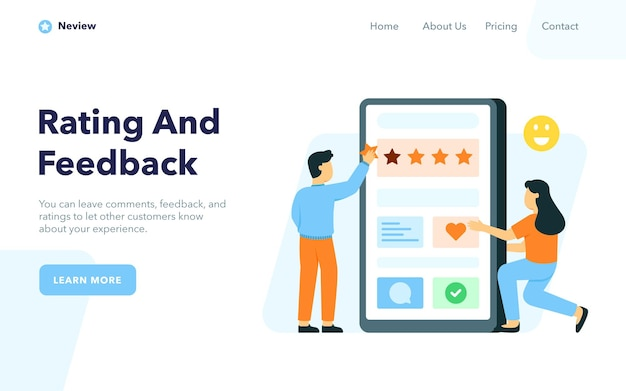 Pagina di destinazione di valutazione e feedback