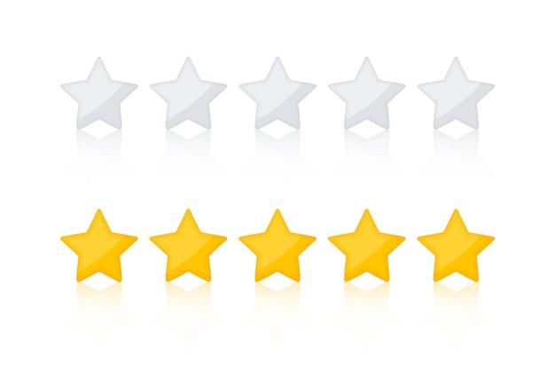 Valutazione stelle d'oro. stelle di recensione del prodotto del sito web. stella d'oro. con le ombre fa risaltare le stelle dallo sfondo e le stelle grigie.