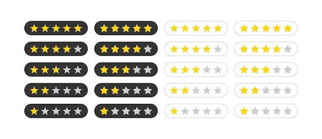 Icona della stella di valutazione del grado di valutazione impostata in diverse forme. eps vettoriale 10