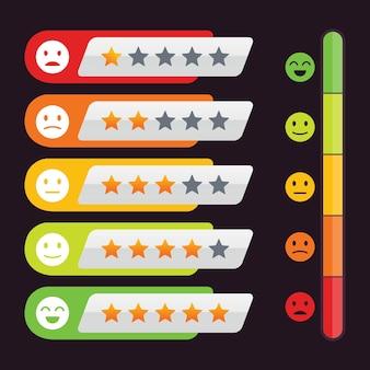 Valutazione stelle elementi di design feedback dei clienti con soddisfazione emoticon
