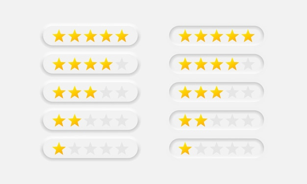 Stelle di valutazione da uno a cinque icone vettoriali impostate in stile neumorfico. elementi di design del neumorfismo. simbolo di revisione. eps vettoriale 10