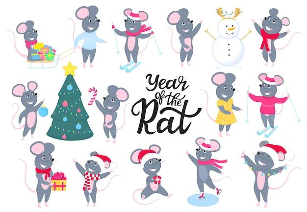 Ratti. topi divertenti. roditori grigi. nuovo capodanno cinese 2020. grande set di mouse. personaggi dei cartoni animati. buon natale.