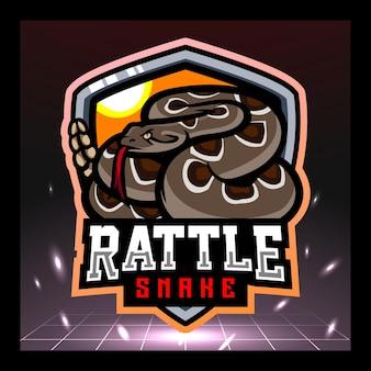 Mascotte del serpente a sonagli esport logo design