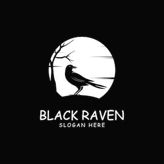 Illustrazione di icona logo corvo nero corvo