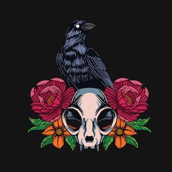 Disegno della maglietta del cranio del corvo e del gatto