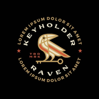 Illustrazione dell'icona di vettore del logo del distintivo dell'uccello chiave del corvo del corvo