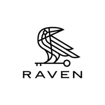 Illustrazione dell'icona di logo della linea di monoline dell'uccello nero chiave del corvo del corvo