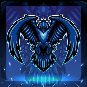 Raven mascotte esport logo design