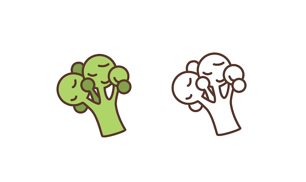 Icona di vettore lineare di broccoli crudi. verdura biologica fresca, deliziosa illustrazione di contorno di cibo vegano. insalata nutriente ingrediente isolato su sfondo bianco. mangiare sano, simbolo della dieta vitaminica.