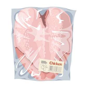Petto di pollo crudo in confezione di plastica trasparente