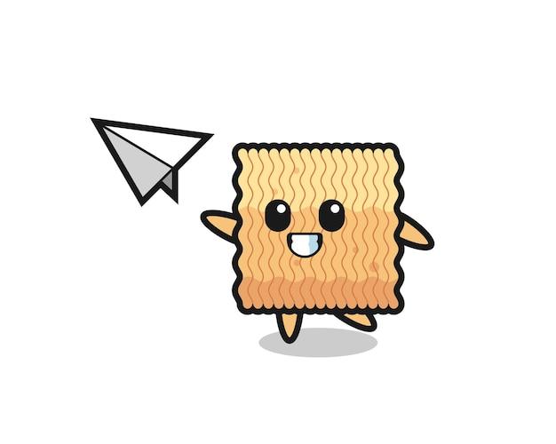 Personaggio dei cartoni animati di spaghetti istantanei crudi che lancia aeroplano di carta, design in stile carino per maglietta, adesivo, elemento logo
