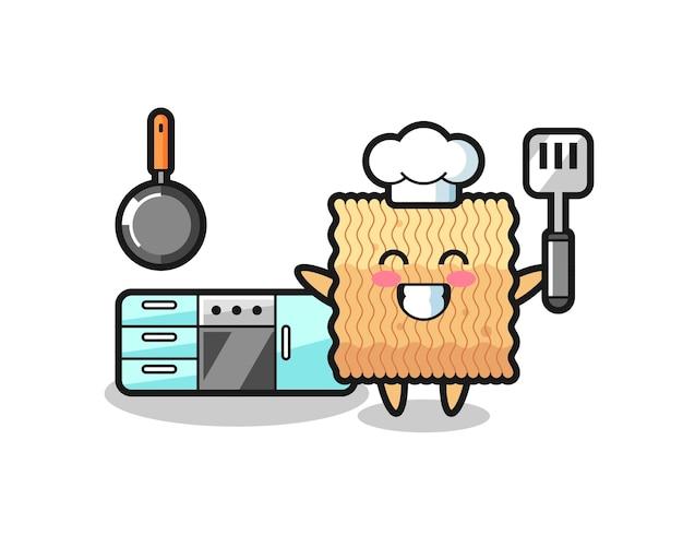 Illustrazione di carattere di noodle istantaneo crudo mentre uno chef sta cucinando, design in stile carino per maglietta, adesivo, elemento logo