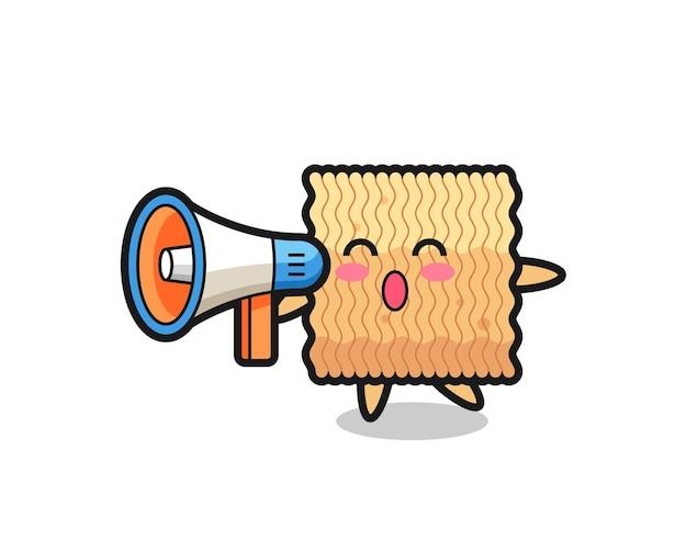Illustrazione di carattere di noodle istantaneo crudo che tiene un megafono, design in stile carino per maglietta, adesivo, elemento logo