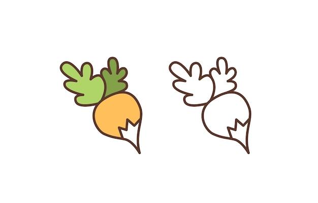 Icona di vettore lineare di rapa cruda. ravanello organico fresco con l'illustrazione del profilo delle foglie. cibo naturale, verdura matura, prodotto alimentare sano isolato su sfondo bianco. simbolo di nutrizione vegetariana.