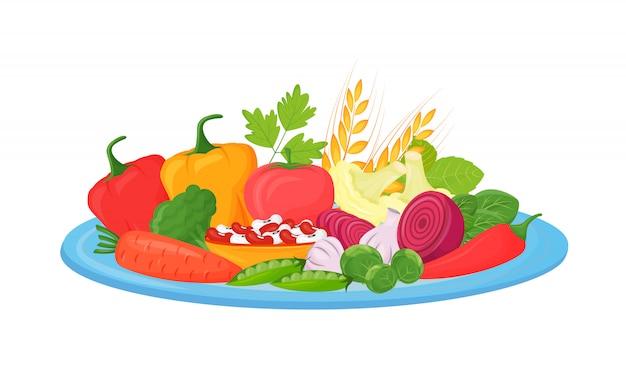 Illustrazione del fumetto delle verdure crude, dei fagioli e dei cereali