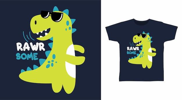 Dinosauro crudo per il design della maglietta